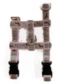 オリジナルロゴH型ハーネス モカグレーロゴxピンクテープ