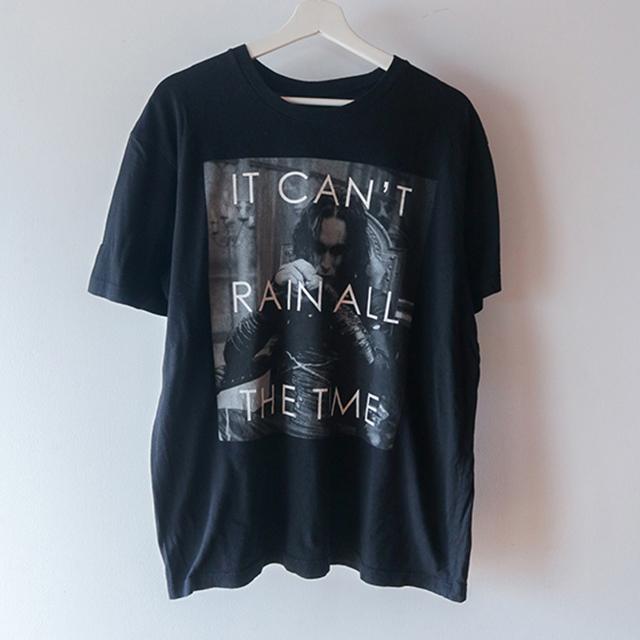 monotone print Tシャツ 黒