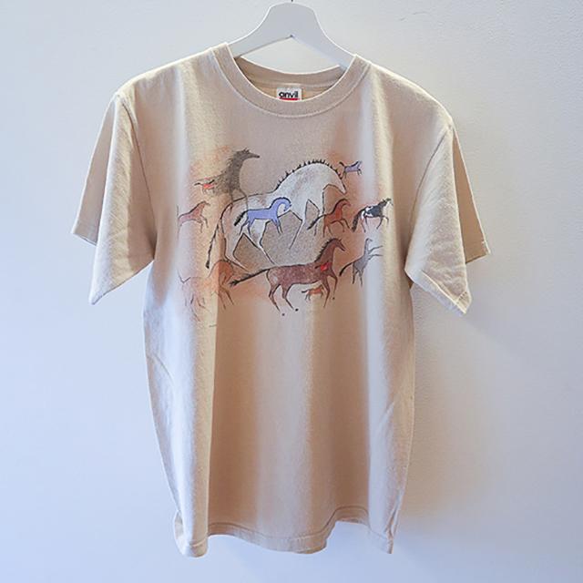 Runnig horse Tシャツ ベージュ