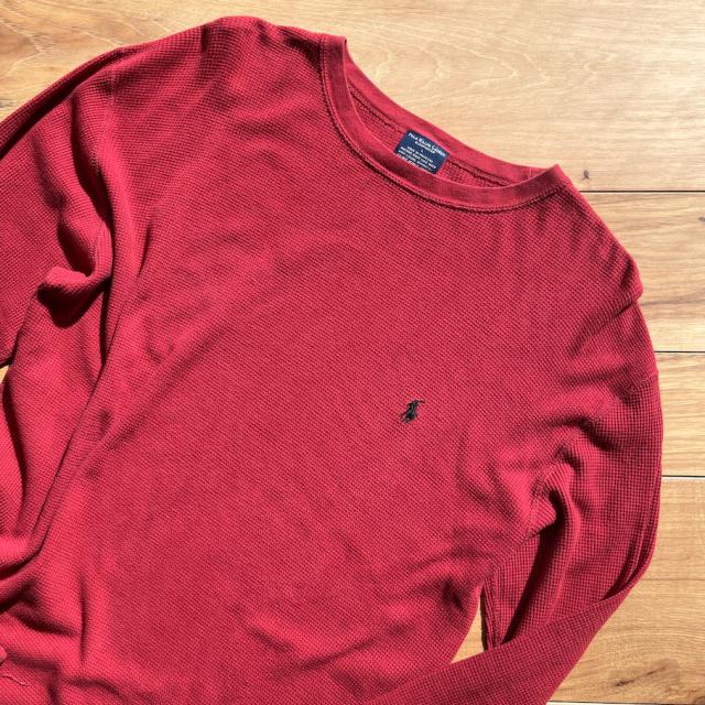 POLO サーマル長袖Tシャツ 赤