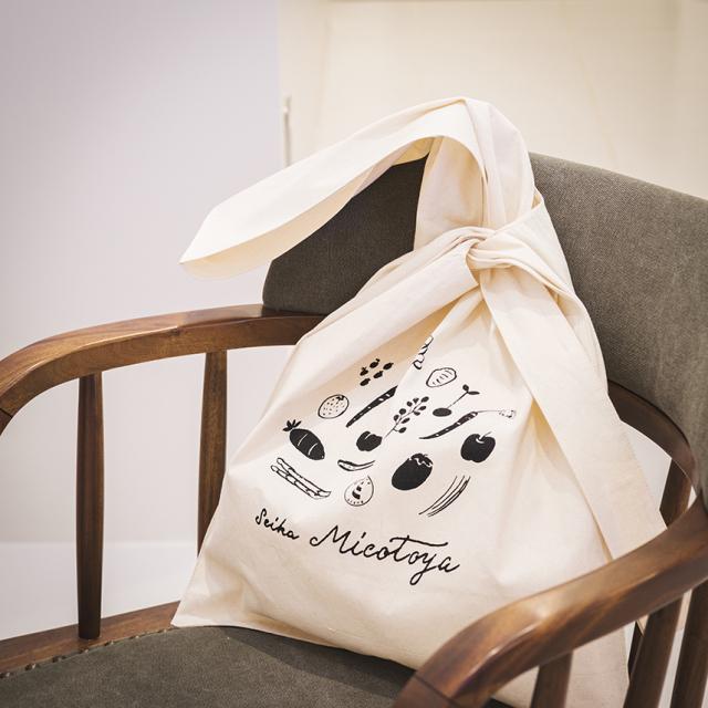 KNOT BAG-M NATURAL-MICOTOYA / ノットバッグ 「青果ミコト屋」コラボデザイン