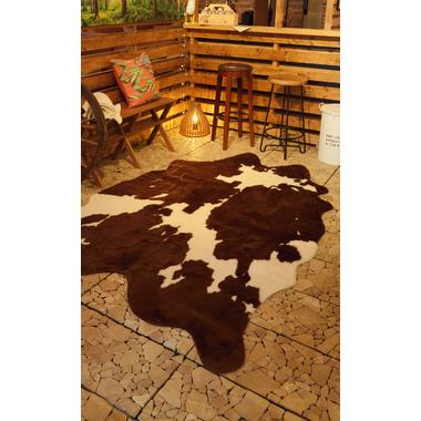カウ柄ラグマット ブラウン 160×220