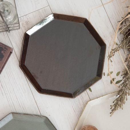 寿山窯 angle アングル 25cmプレート ブラウン