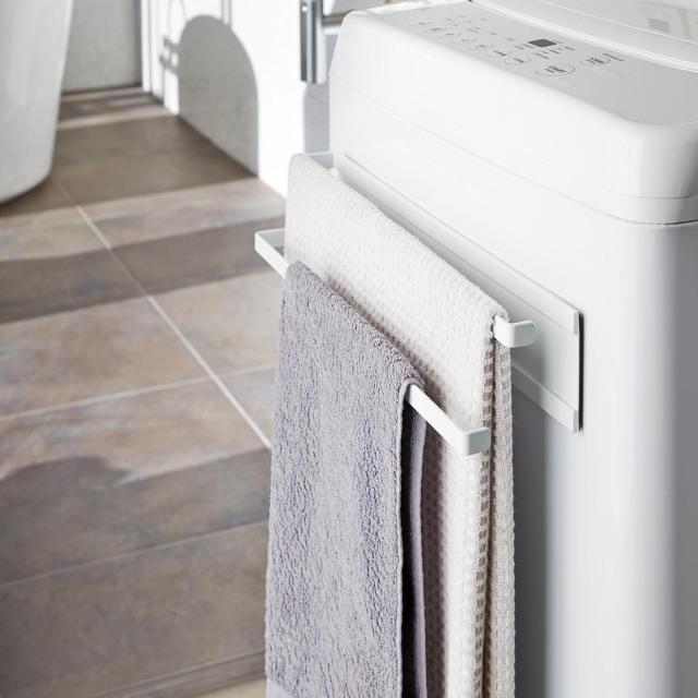 洗濯機横マグネットタオルハンガー 2段 タワー(白)