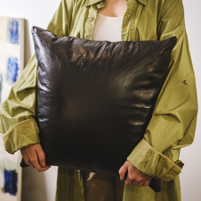 LEATHER CUSHION COVER / Black 45×45