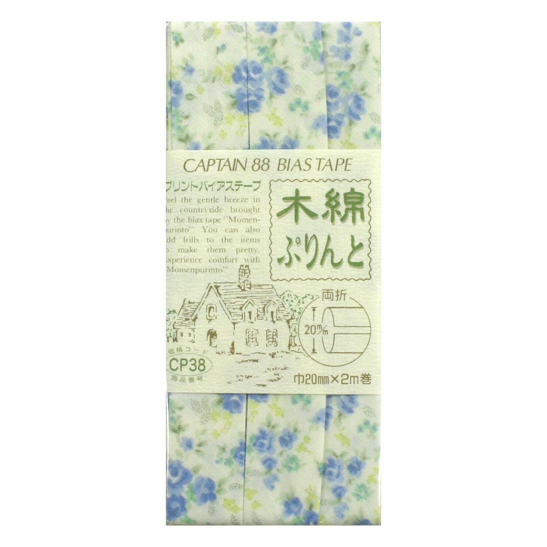バイアステープ青い花柄