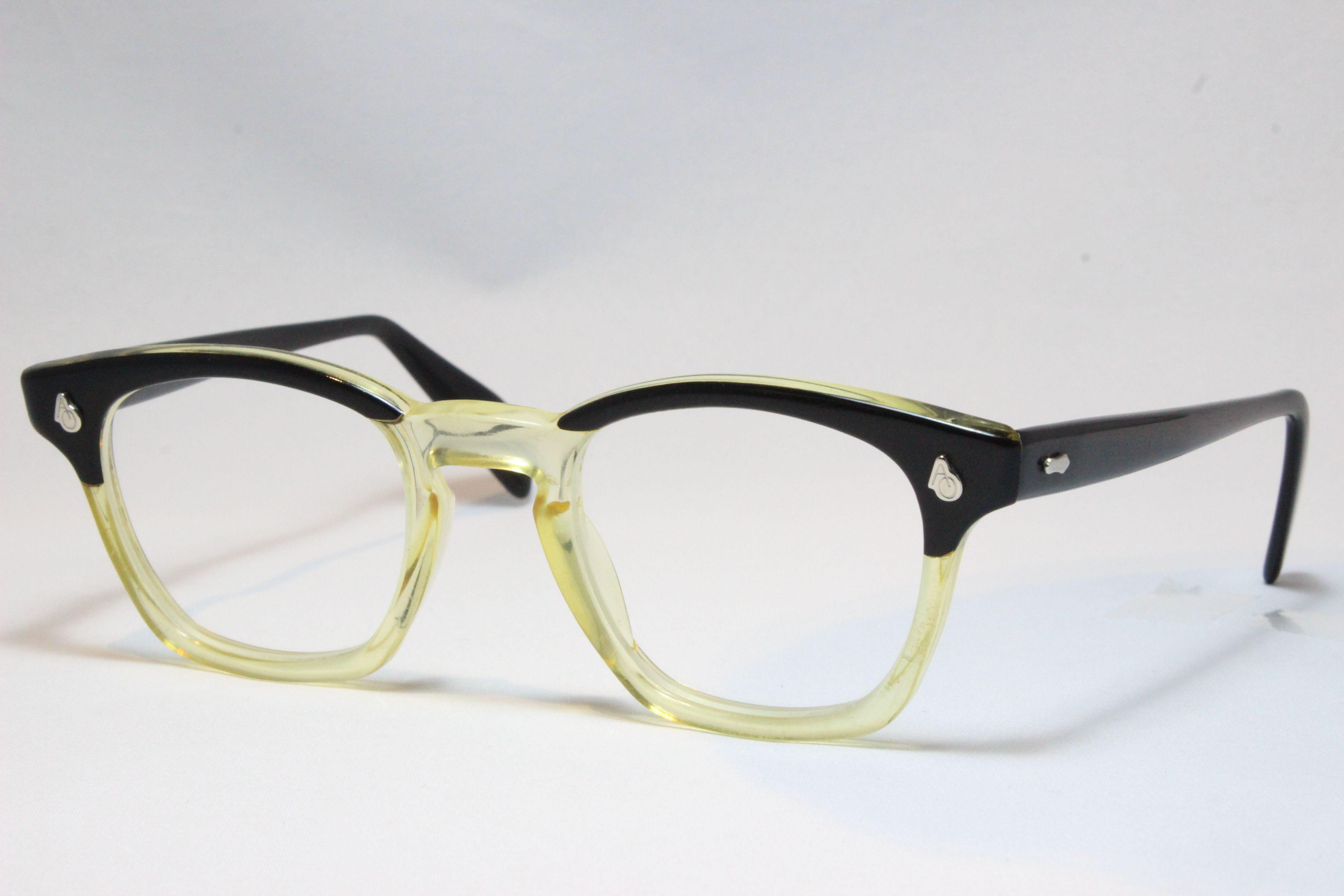 【送料無料】AMERICAN OPTICAL 1950'S BLACK YELLOW アメリカンオプティカル ヴィンテージメガネ (AO-026)