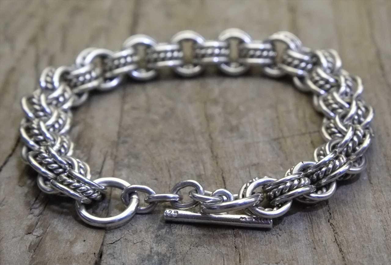 【送料無料】 Vintage Mexican Silver 925 Toggle Bracelet  (B011) ヴィンテージ メキシカン シルバー アクセサリー ブレスレット