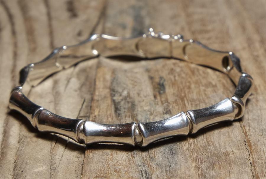 ヴィンテージ イタリア シルバー (B072) ビンテージ アクセ バンブー ジュエリー ブレスレット レア Vintage Itary Silver 925  Bracelet Bamboo