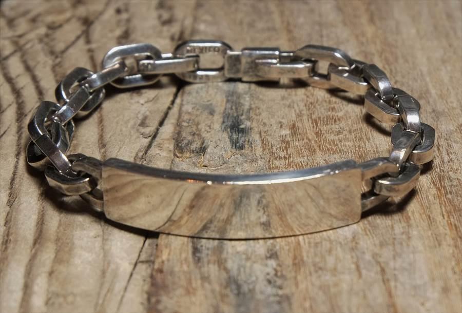 ヴィンテージ メキシカン シルバー (B076) ビンテージ アクセ バングル IDブレスレット ボリューム  レア Vintage Mexican Silver 925 Bracelet