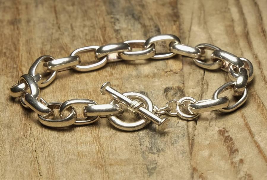 ヴィンテージ シルバー (B098) ビンテージ アクセ トグルブレスレット  Vintage Silver 925 Toggle Bracelet
