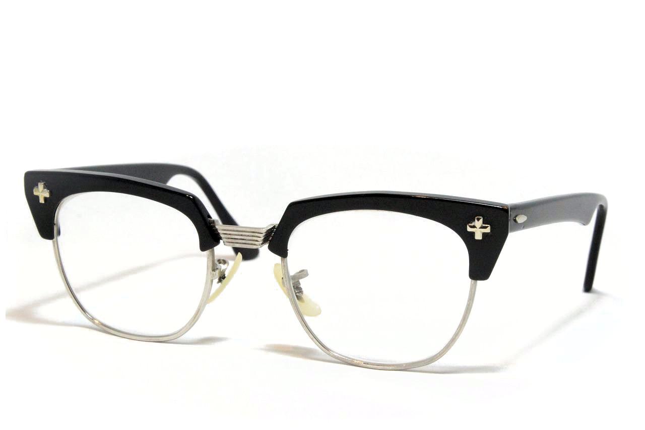 【送料無料】Bausch&Lomb BLOWLINE SAFETY CROSS 1950'S Vintage ボシュロム ヴィンテージメガネ(BK)