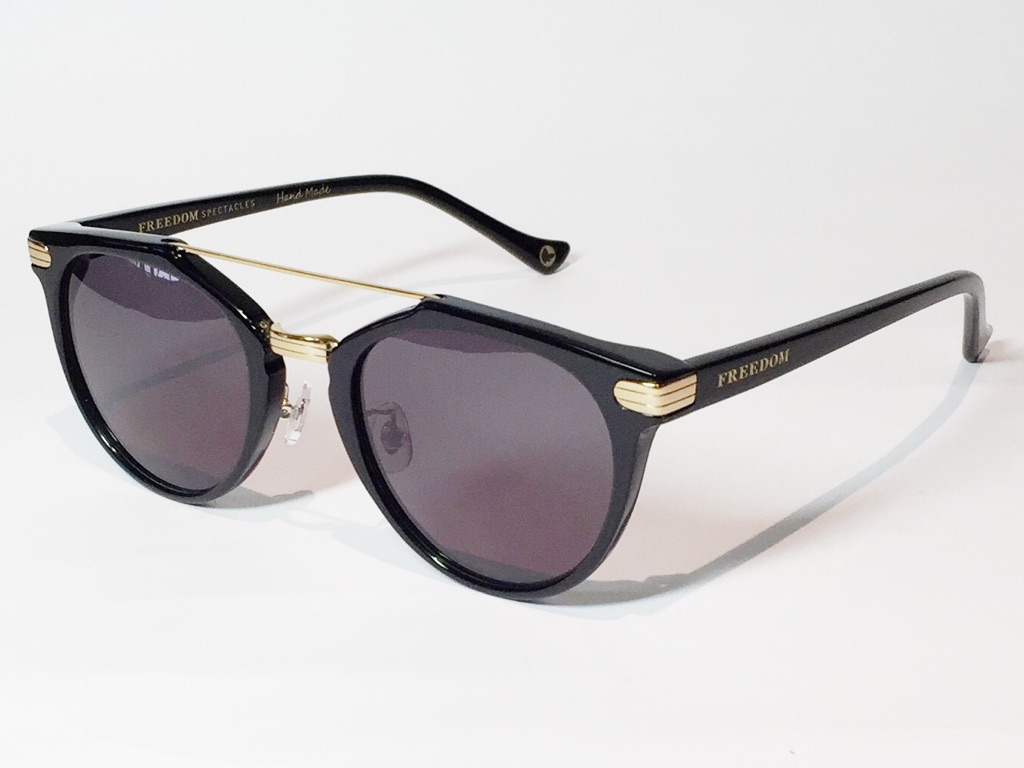 【送料無料】FREEDOM SPECTACLES (フリーダムスペクタクルス) POWELL  COLOR. 01 ( Black - Yellow Gold / Grey )