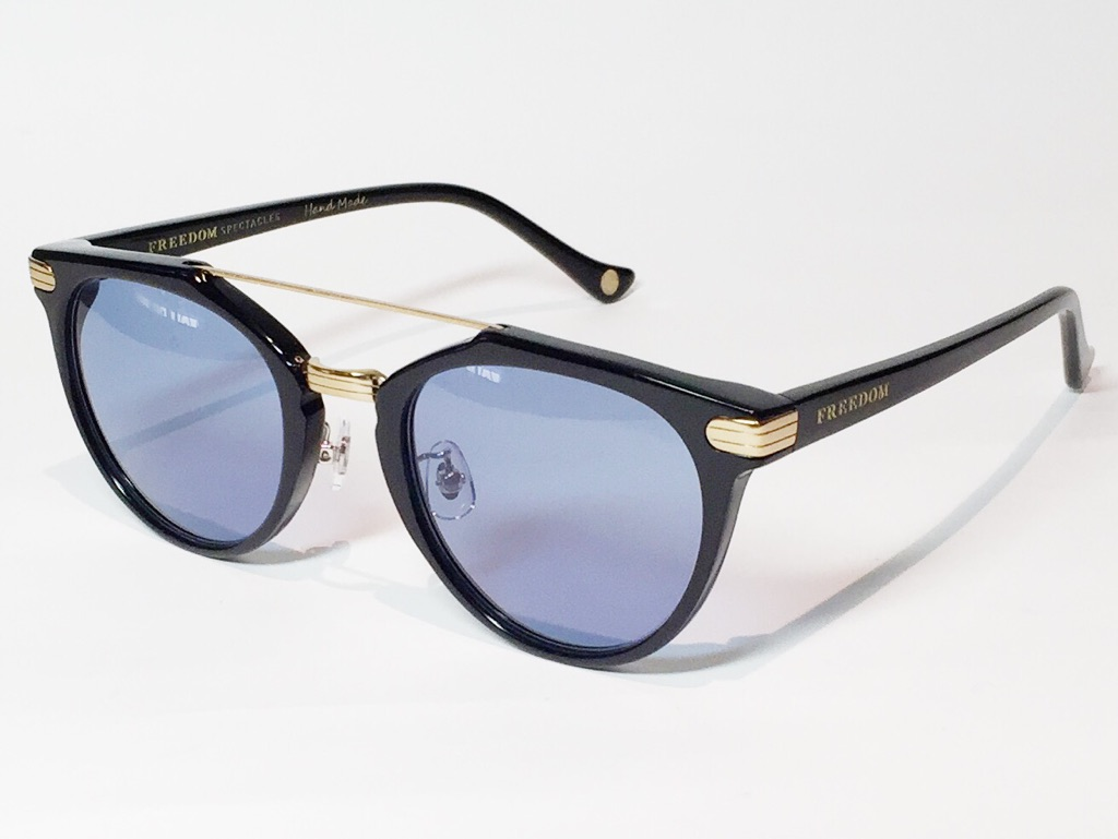 【送料無料】FREEDOM SPECTACLES (フリーダムスペクタクルス) POWELL  COLOR. 02 ( Black - Yellow Gold / Blue )