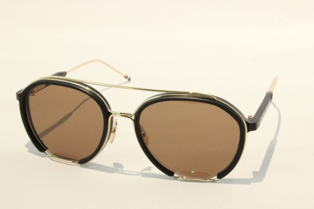 THOM BROWNE(トム ブラウン) TBS-810-01 (Black - White Gold w/ Dark Brown - AR )