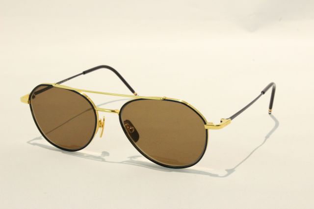 THOM BROWNE(トム ブラウン)TB-105C-NAVY ENAMEL- 18K GOLD W/ DARK BROWN- AR
