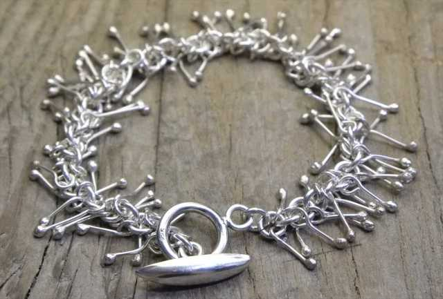 【送料無料】Vintage Mexican Silver 925 Toggle Bracelet  (B013)  ヴィンテージ メキシカン シルバー アクセサリー ブレスレット