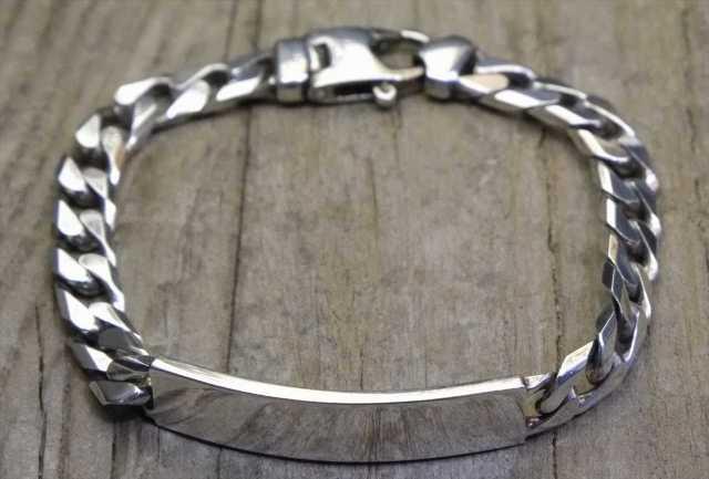 【送料無料】Vintage Italy Silver 925 ID Bracelet (B021) ヴィンテージ シルバー アクセサリー ブレスレット