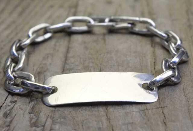 【送料無料】Vintage Mexican Silver 925 ID Toggle Bracelet  (B026) ヴィンテージ シルバー アクセサリー ブレスレット