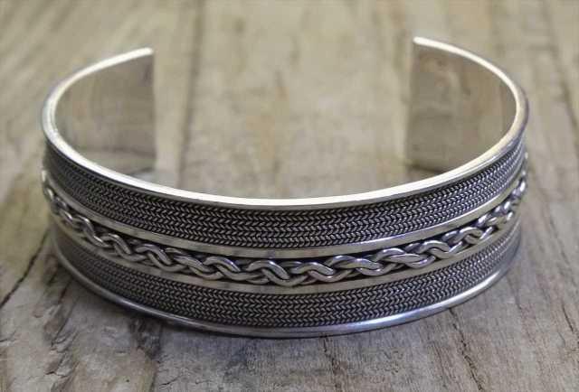 【送料無料】Vintage Mexican Silver 925 Bangle Bracelet  (B027) ヴィンテージ メキシカン シルバー アクセサリー ブレスレット