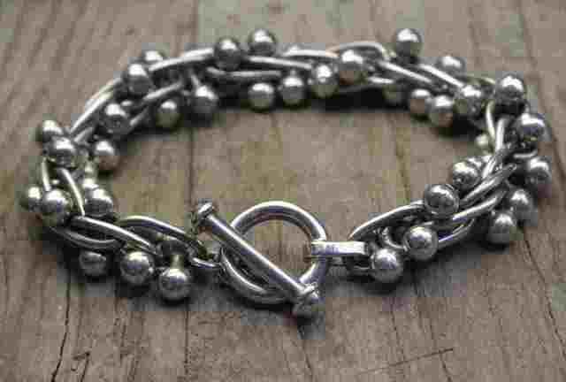 【送料無料】Vintage Mexican Silver 925 Toggle Bracelet  (B035)  ヴィンテージ メキシカン シルバー アクセサリー ブレスレット