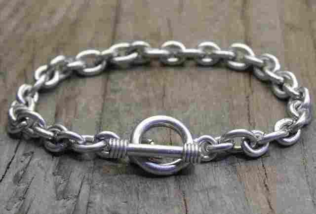 【送料無料】Vintage Silver 925 Toggle Bracelet (B038) ヴィンテージ シルバー アクセサリー ブレスレット