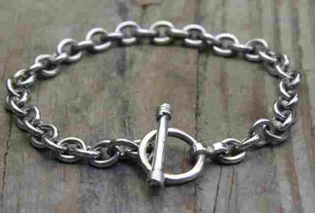 【送料無料】Vintage Silver 925 Toggle Bracelet (B040) ヴィンテージ シルバー アクセサリー ブレスレット