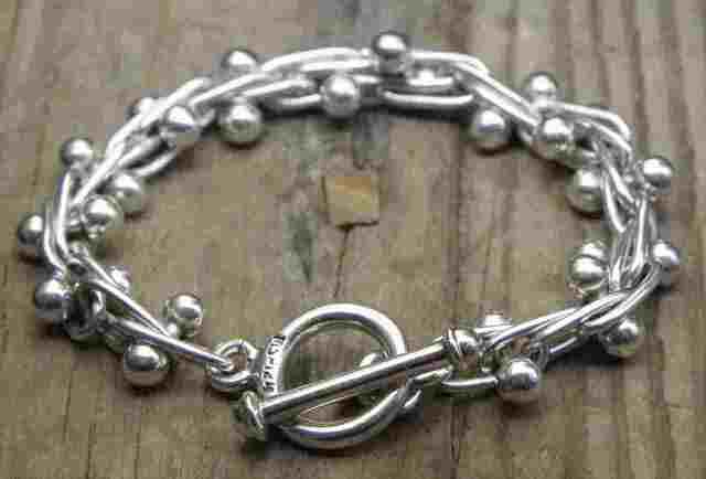 【送料無料】Vintage Mexican Silver 925 Toggle Bracelet  (B041)  ヴィンテージ メキシカン シルバー アクセサリー ブレスレット