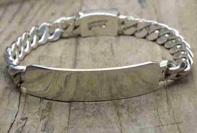 【送料無料】Vintage  Mexican Silver 925 ID Bracelet (B044)ヴィンテージ メキシカン シルバー アクセサリー ID ブレスレット