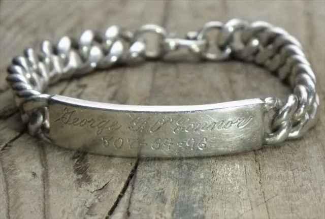 【送料無料】Vintage Mexican Silver 925 ID Bracelet (B053)ヴィンテージ メキシカン シルバー 925 ID ブレスレット アクセサリー ジュエリー