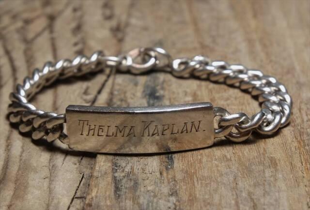 ヴィンテージ  シルバー (B071) ビンテージ アクセ バングル IDブレスレット 1944s レア Vintage Silver 925 Bracelet