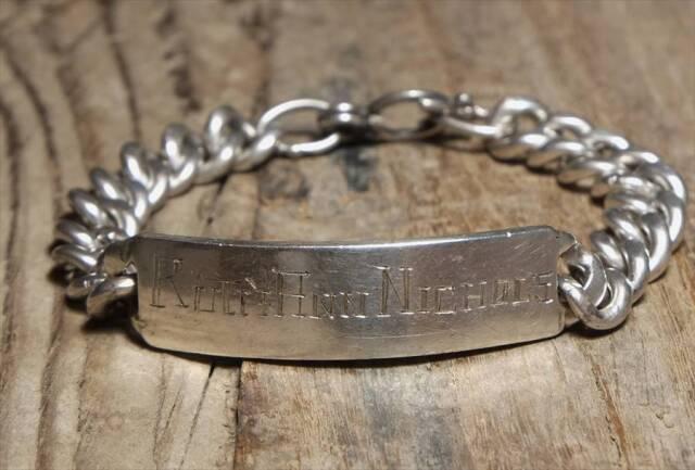 ヴィンテージ メキシカン シルバー (B073) ビンテージ アクセ バングル IDブレスレット  レア Vintage Mexican Silver 925 Bracelet