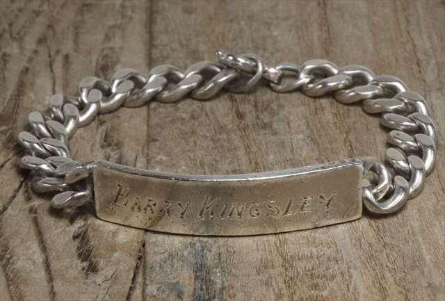 ヴィンテージ  シルバー (B083) ビンテージ アクセ バングル IDブレスレット ロング レア  Vintage Silver 925 Bracelet