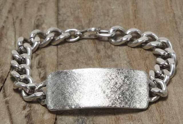 ヴィンテージ  シルバー (B086) ビンテージ アクセ バングル IDブレスレット 1944s レア Vintage Silver 925 Bracelet