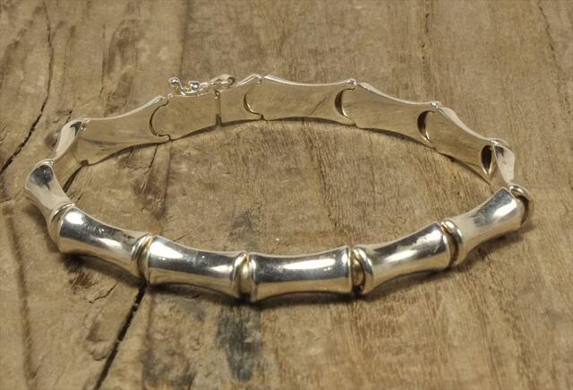 ヴィンテージ イタリア シルバー (B089) ビンテージ アクセ バンブー 竹 ジュエリー ブレスレット レア Vintage Itary Silver 925  Bracelet Bamboo
