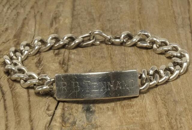 ヴィンテージ  シルバー (B092) ビンテージ アクセ バングル IDブレスレット 刻印 人気  Vintage Silver 925 Bracelet