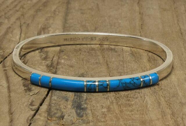 ヴィンテージ メキシカン シルバー (B093) ビンテージ アクセ ターコイズ ヒンジブレスレット レア Vintage Mexican Silver 925 Bangle Bracelet