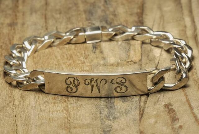 ヴィンテージ  シルバー (B099) ビンテージ アクセ バングル IDブレスレット 刻印 人気  Vintage Silver 925 Bracelet