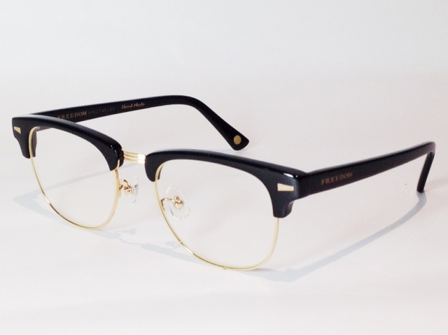 【送料無料】FREEDOM SPECTACLES (フリーダムスペクタクルス) BAKER  COLOR. ( BLACK - GOLD / CLEAR )