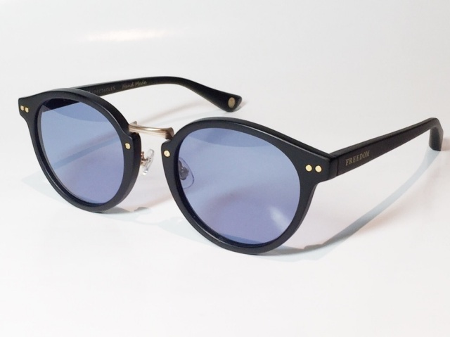 【送料無料】FREEDOM SPECTACLES (フリーダムスペクタクルス) MARTIN  COLOR. ( Matte Black - Matte Yellow Gold  / Deep Blue )