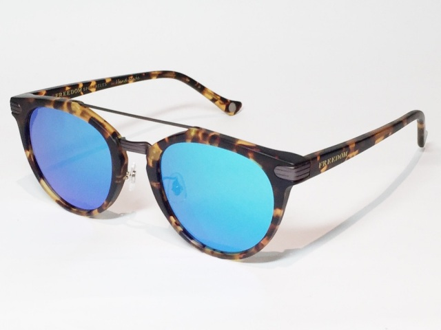【送料無料】FREEDOM SPECTACLES (フリーダムスペクタクルス) POWELL  COLOR. 07 ( Matte Yellow Tortoise - Matte Dark Gunmetal / Blue Mirror )