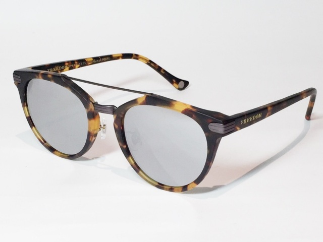 【送料無料】FREEDOM SPECTACLES (フリーダムスペクタクルス) POWELL  COLOR. 08 ( Matte Yellow Tortoise - Matte Dark Gunmetal / Silver Mirror )
