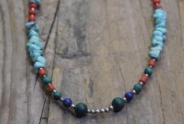 【送料無料】Vintage Silver 925 Turquoise Coral Necklace (N010)ヴィンテージ シルバー アクセサリー ネックレス