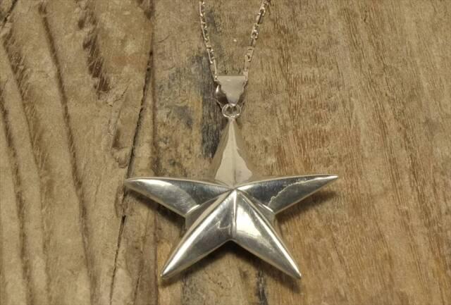 ヴィンテージ スターリング シルバー ネックレス スター 星型 (N017) Vintage  Silver 925 Necklace