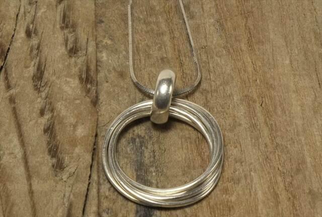 ヴィンテージ スターリング シルバー ネックレス 5連リング (N018) Vintage  Silver 925 Necklace