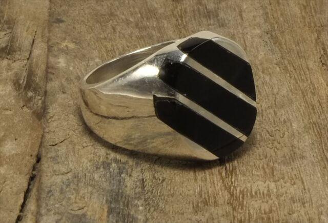 ヴィンテージ メキシカン シルバー 925 (R049) ジュエリー アクセ  シグネット オニキス Vintage Mexican Silver 925 Ring