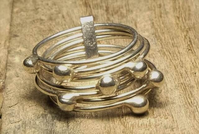ヴィンテージ スターリング シルバー 925 (R050) ジュエリー アクセ  7連リング Sterling  Silver 925 Ring