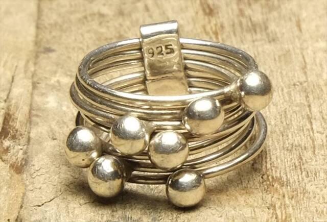 ヴィンテージ スターリング シルバー 925 (R051) ジュエリー アクセ  7連リング Sterling  Silver 925 Ring