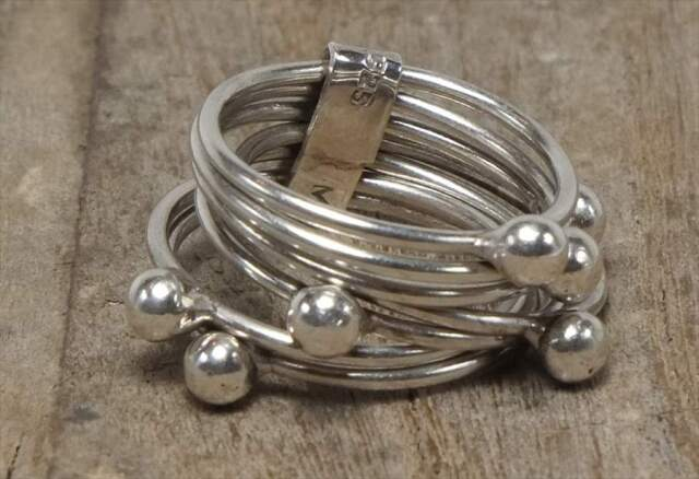 ヴィンテージ メキシカン シルバー 925 (R041) ジュエリー アクセ  7連リング Vintage Mexican Silver 925 Ring