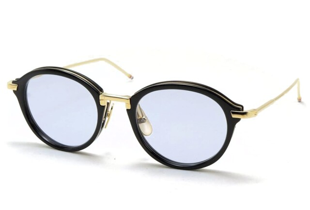THOM BROWNE(トム ブラウン) TB-011A-49 ( BLACK/SHINY 12K GOLD BRIDGE & TEMPLES / BLUE LENS) ライトカラーレンズ